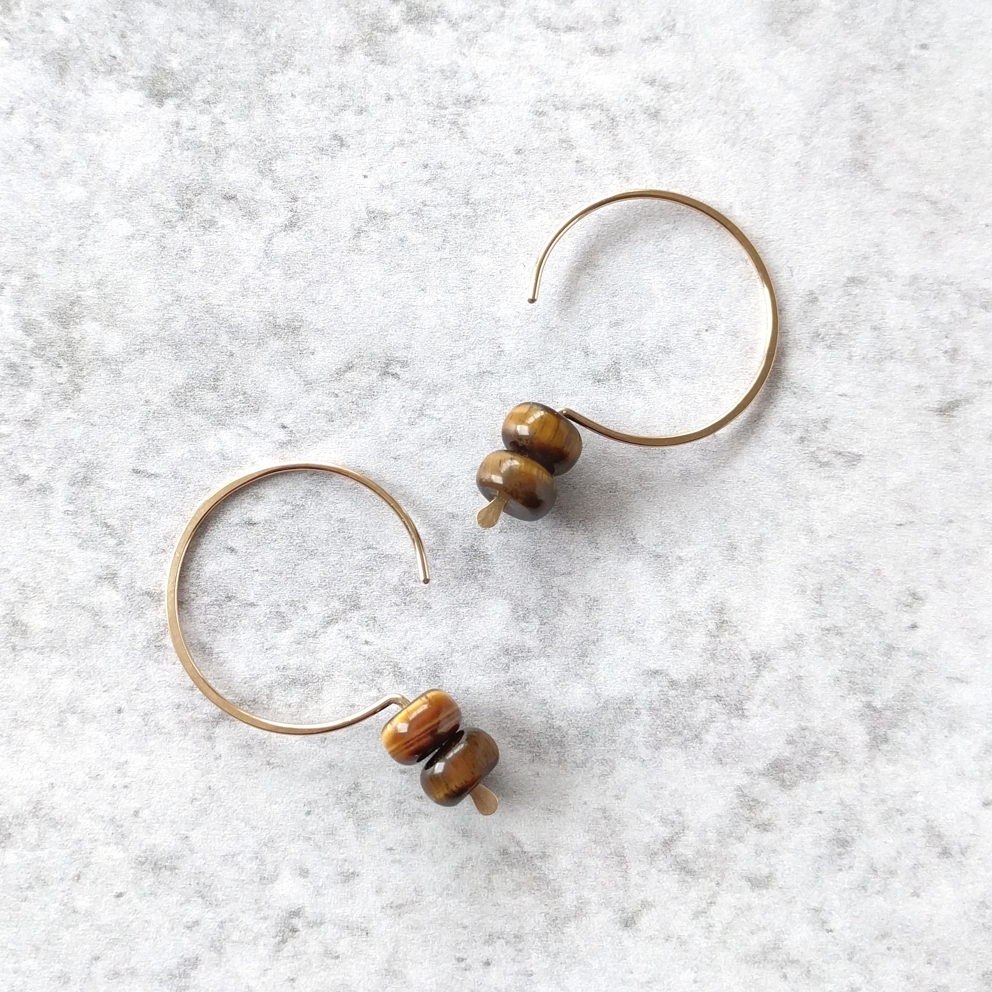 14k Gold Filled Hook Earrings w_ Tiger Eye