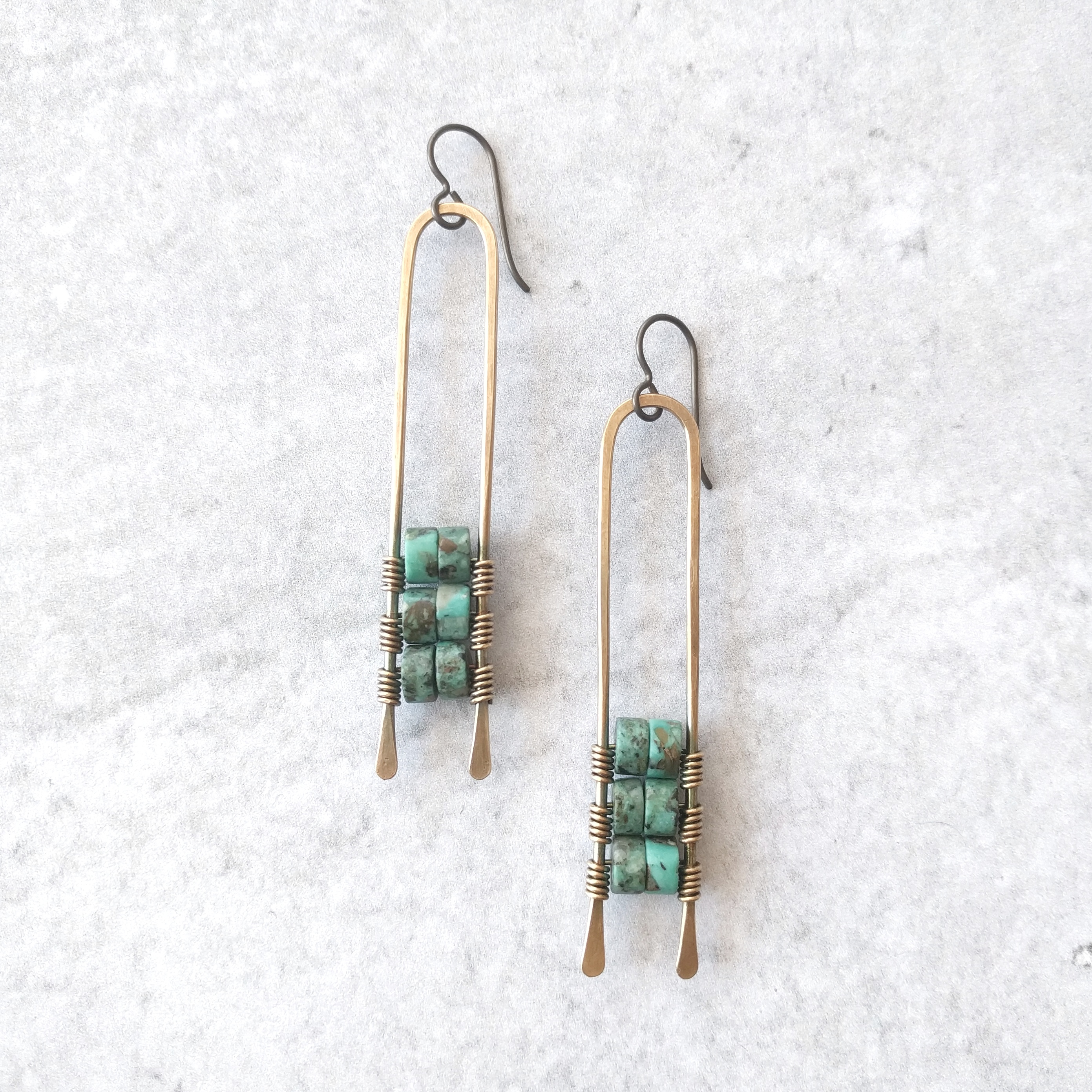 Brass Abacus Earrings w_ African Turquoise